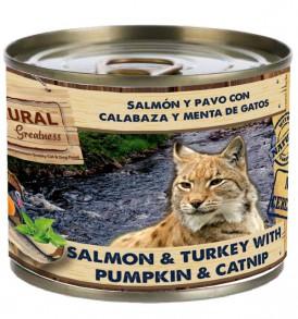 Salmón y Pavo con Calabaza y Menta de Gatos